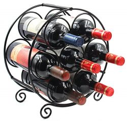 PAG 7 Bottles Metal Free Standing Countertop Wine Rack for Table and Floor,Black