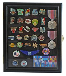 Display Case Cabinet Shadow Box for Military Medals, Pins, Patches, Insignia, Ribbons, (Black Fi ...