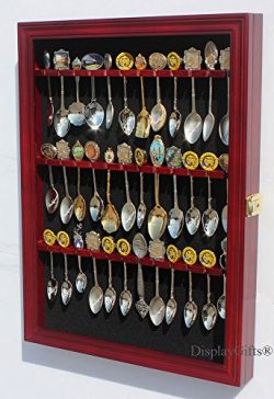 36 Tea Spoon Souvenir Spoon Display Case Holder Wall Cabinet, UV Protection. Lockable (Cherry Fi ...