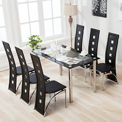 Mecor 5 Piece/7 Piece Glass Dining Table Set with Leather Chairs Kitchen Furniture (Black) (7 PC)