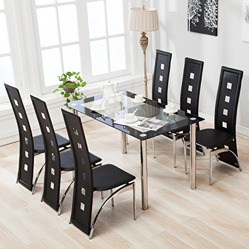Mecor 5 Piece7 Piece Glass Dining Table Set With Leather Chairs