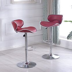 Belleze Cushioned Leatherette Airlift Adjustable Swivel Bar stool w/ Chrome Base, Set of 2 (Burg ...