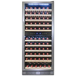 FIREBIRD 116 Bottle Dual Zone Freestanding Electric Wine Cooler Chiller Refrigerator w/ Touch Co ...