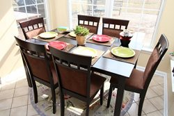 7 pc Espresso Brown 6 Person Table and Chairs Brown Dining Dinette – Espresso Brown and Be ...