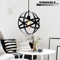 KingSo Industrial Metal Pendant Light, Spherical Ceiling Light ORB Globe Hanging Light Fixture F ...