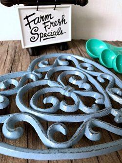 Blue Grey Fleur De Lis Heart Cast Iron Trivet – Farmhouse Table Decor – Rustic Kitch ...