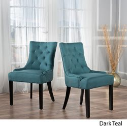 Stacy Dark Teal Fabric Dining Chairs (Set of 2)