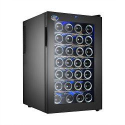 Electro Boss   28 Bottle Thermoelectic Wine Cooler   Black   Beverage Refrigerator   Door opens  ...