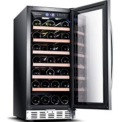 "Sinoartizan ST-33S 15"" Wide 33 Bottle Single Zone Red, White, Champagne Wine Cooler/Built-in or  ..."