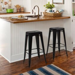 Best Choice Products 30″ Set of 2 Modern Industrial Backless Metal Bar Stools- Black