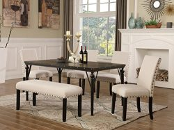 Roundhill Furniture T163-C162TA-C162TA-CB162TA Biony 6-Piece Wood Dining Set with Nailhead Chair ...