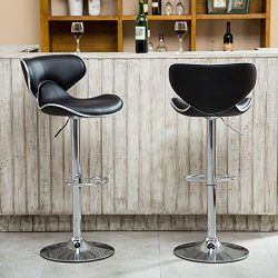 Roundhill Furniture Masaccio Cushioned Leatherette Upholstery Airlift Adjustable Swivel Barstool ...