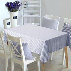 Deconovo Oblong Checker Water Resistant Recycled Tablecloth Stripe Pattern Table Cloth for Dinin ...