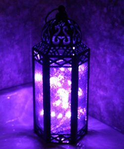 Purple Glass Moroccan Style Lantern with LED Fairy Lights