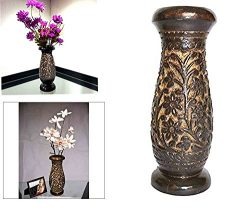 Wooden Flower Vase Carving Work, Flower Vase Outdoor, Flower Vase For Dining Table, Wooden Handm ...