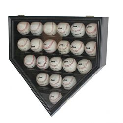 Ultra Clear 21 Baseball Display Case Cabinet Holder, w/UV Protection, Lockable (Black)