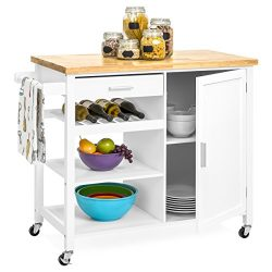 Best Choice Products Mobile Kitchen Island Storage Cocktail Cart w/ Wine Shelf & Towel Rack  ...