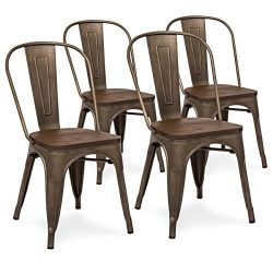 Best Choice Products Set Of 4 Industrial Distressed Metal Bistro Dining Side Chairs w/ Wood Seat ...