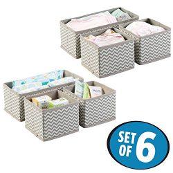 mDesign Soft Fabric Dresser Drawer and Closet Chevron Storage Organizer Set for Child/Baby Room, ...