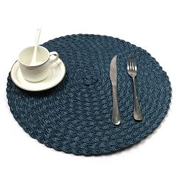 HEBE Blue Round Placemats For Dining Table Woven Braided Place Mats Heat Resistant Washable Kitc ...