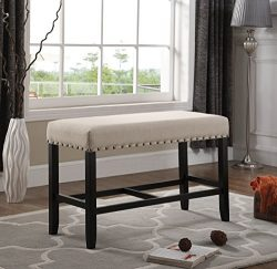 Roundhill Furniture PB162TA Biony Fabric Counter Height Dining Bench with Nailhead Trim, Tan