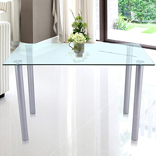 Benlet Dinning Table Rectangle Clear Glass Top Dinning
