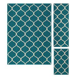 Area Rugs Sets, Maples Rugs [Made in USA][Rebecca] 3 Piece Set Non Slip Padded Large Runner &amp ...