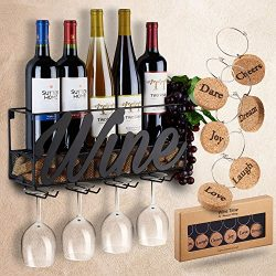 Wall Mounted Wine Rack | Bottle & Glass Holder | Cork Storage Store Red, White, Champagne |  ...