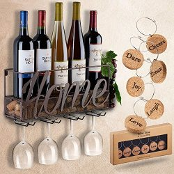 Wall Mounted Wine Rack   Bottle & Glass Holder   Cork Storage Store Red, White, Champagne    ...