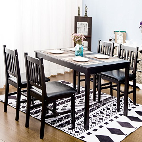 45 Wood Kitchen Tables And Chairs Sets Kitchen Chairs: Harper&Bright Designs 5 Piece Wood Dining Table Set 4