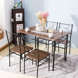 Harper Bright Design 5 pcs Dining Table Set Dining Set Dining Furniture Wood and Metal Home Kitc ...