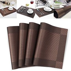 Set of 4 Placemat Heat-resistant Crossweave Woven Non-slip Insulation Kitchen Place Mats Washabl ...
