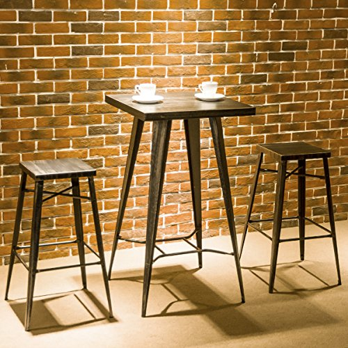 Harper&Bright Designs 3-Piece Pub Dining Table Set Metal