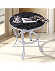 Olee Sleep 21″ Classic Accent Black Natural Marble Top Silver Metal Base Coffee Table/ Tea ...