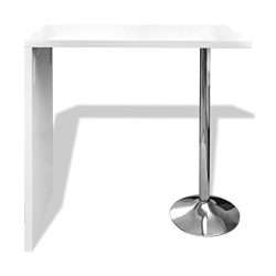 Festnight High Gloss Bar Coffee Table Dining Table With 1 Steel Base Leg, 46″ x 22.4&#8243 ...