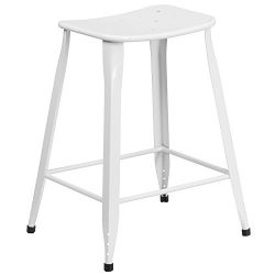 """Flash Furniture 23.75"""" High White Metal Indoor-Outdoor Counter Height Saddle Comfort Stool"""