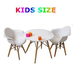 Buschman Set of White Eames Style Kids Dining Room Mid Century Wooden Legs Table and Two Chairs, ...