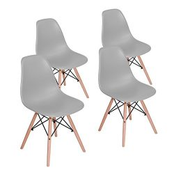 HOMY CASA Dining Chair Mid Century Modern Style Eames Dining Chair Seat Height Natural Wood Legs ...