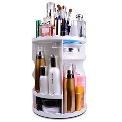 MOFIR Makeup Organizer 360 Degree Rotating, Adjustable Multi-Function Cosmetics Storage Box, Sma ...