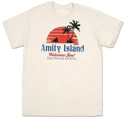 Jaws T-shirt Amity Island Adult Dirty White Tee Shirt (Small)