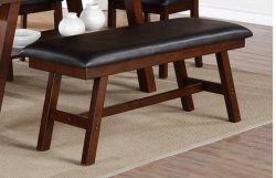 Poundex Faux Leather Seat Solid Wood Dining Bench, Dark Brown