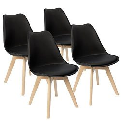 Furmax Eames Style Chair Mid Century Modern Dining Chair Side Chair With Beech Wood Legs and Sof ...