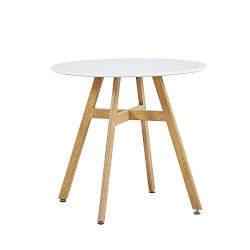 GreenForest Round Dining Table with Oak Finish Legs, Kicthen Room Leisure Coffee Tea Breakfast T ...