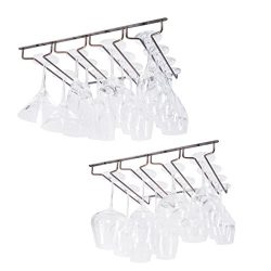 Wallniture Under Cabinet Stemware Rack – Wine Glass Storage Holder 17 Inch Set of 2 (Oil R ...