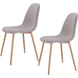 Giantex Dining Side Chairs Steel Legs Wood Look Fabric Cushion Seat Home Dining Room Furniture ( ...