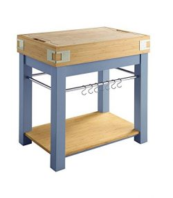 Scott Living Wood Kitchen Island in Blue Finish