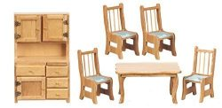 Dollhouse Miniature 1:12 Scale Dining Room Set, Table/Chairs/Hutch