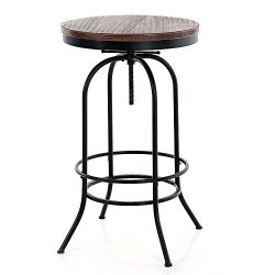 iKayaa 24inch Bar Pub Table Round Pinewood Industrial Style Dining Room