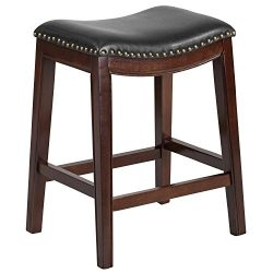 """Flash Furniture 26"""" High Backless Cappuccino Wood Counter Height Stool with Black Leather Seat"""