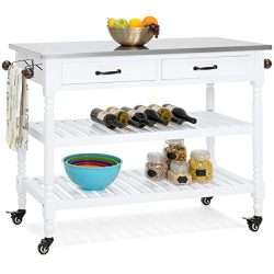 Best Choice Products Dining Kitchen Island Storage & Bar Cocktail Cart w/Stainless Steel Top ...